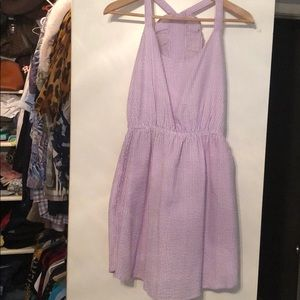 Seersucker purple white stripe dress